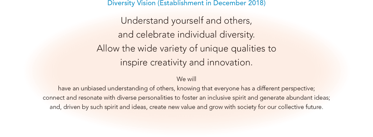 [Diversity Vision (Establishment in December 2018)] Understand yourself and others, and celebrate individual diversity. Allow the wide variety of unique qualities to inspire creativity and innovation. We will have an unbiased understanding of others, knowing that everyone has a different perspective; connect and resonate with diverse personalities to foster an inclusive spirit and generate abundant ideas; and, driven by such spirit and ideas, create new value and grow with society for our collective future.